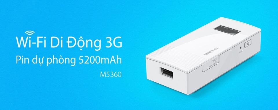 tp-link m5360 - bo phat wifi di dong tu sim 3g - pin sac du phong 5200mah