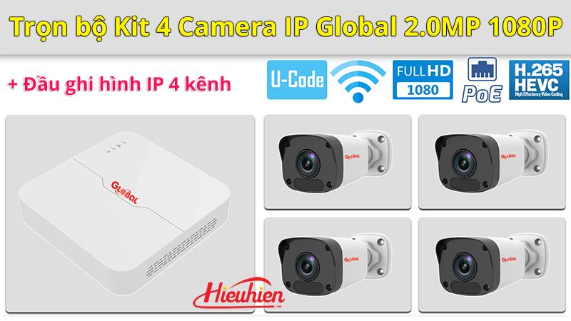 trọn bộ kit 4 camera ip global 2.0mp 1080p + đầu ghi hình ip 4 kênh - 4 camera