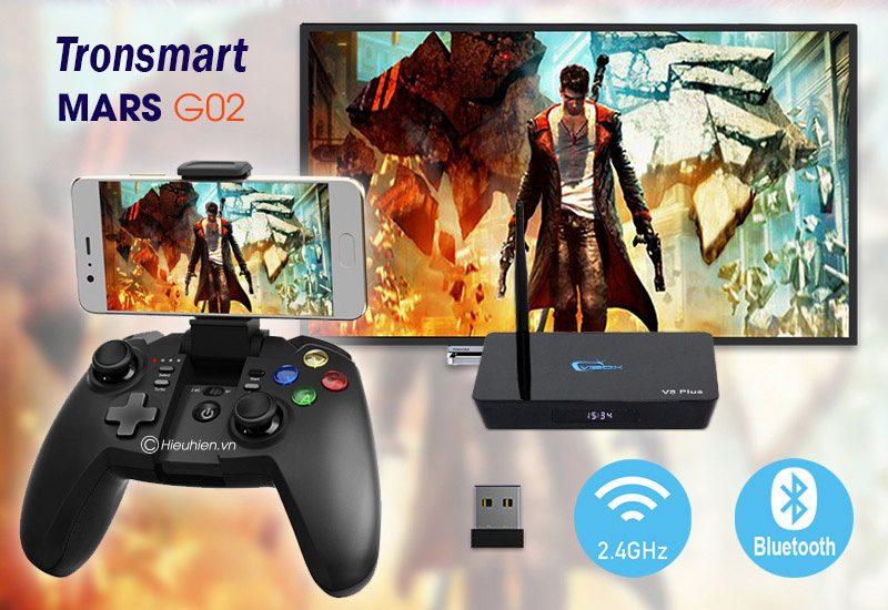 tronsmart mars g02 - tay cầm chơi game cho điện thoại, android tv box ps3 pc - kết nối đa dạng