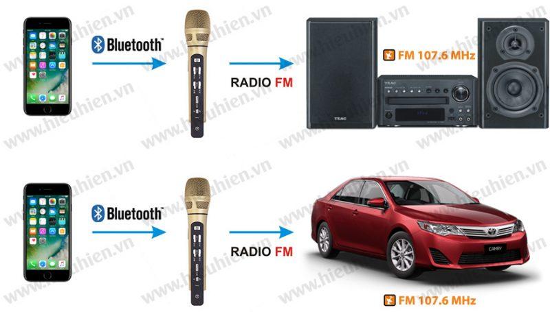 tuxun k9 - micro hát karaoke trên ô tô, xe hơi - kết nối fm