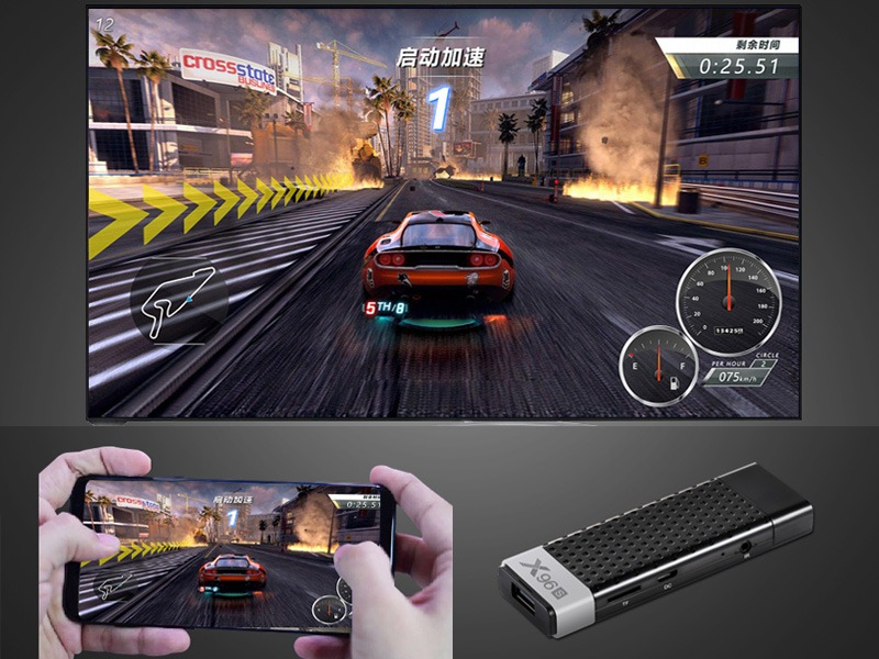 android tv stick x96s 2gb/16gb, cpu amlogic s905y2, android 8.1 - chơi game