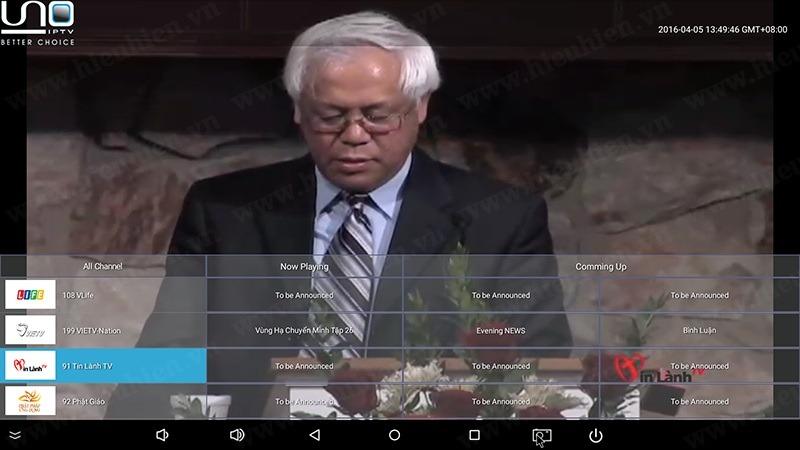 Kenh tin lanh tren uno iptv android tv box