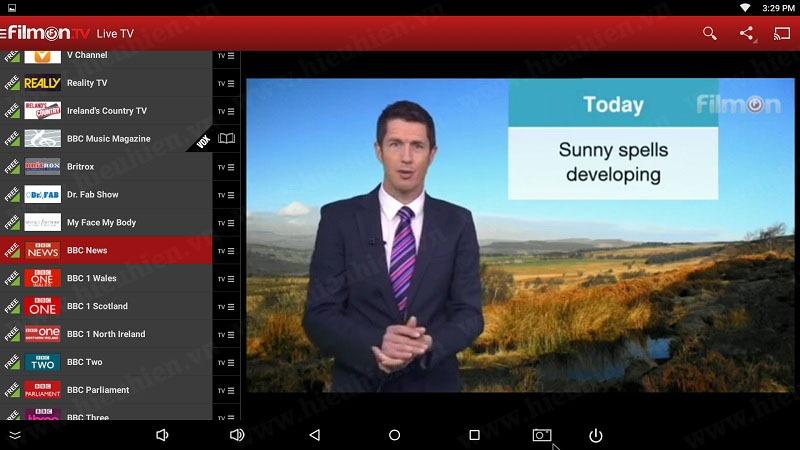 kenh bbc news tren filmon tv android tv box