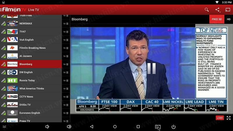 kenh bloomberg tren filmon tv android tv box