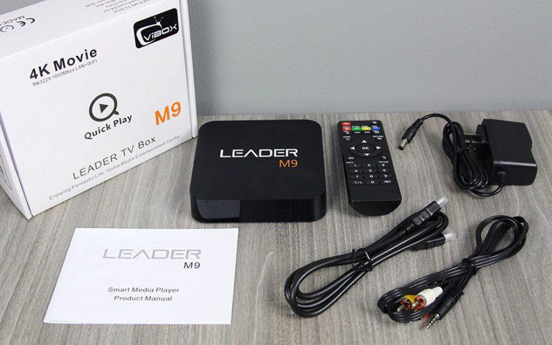 leader m9 android tv box giá rẻ, chip lõi tứ rockchip rk3229 + remote - phụ kiện