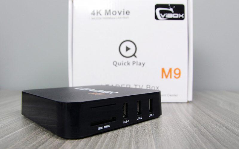 leader m9 android tv box giá rẻ, chip lõi tứ rockchip rk3229 + remote - cạnh bên
