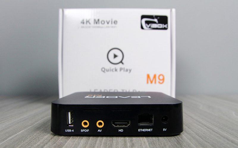 leader m9 android tv box giá rẻ, chip lõi tứ rockchip rk3229 + remote - bên hông