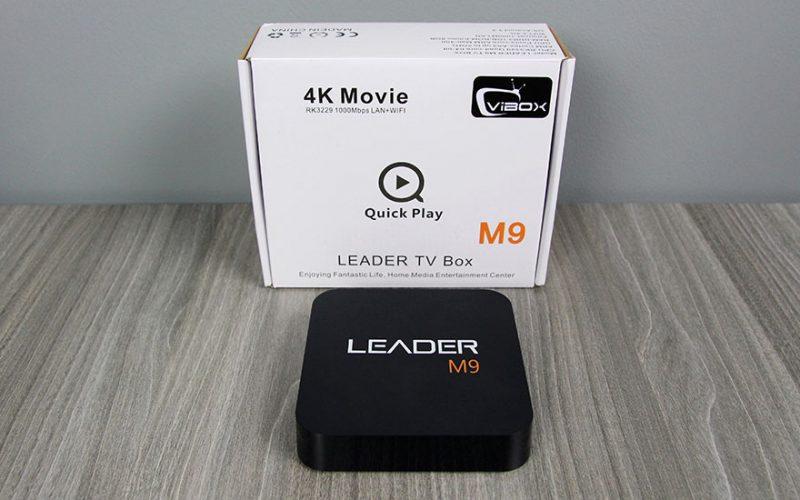 leader m9 android tv box giá rẻ, chip lõi tứ rockchip rk3229 + remote - mặt trên