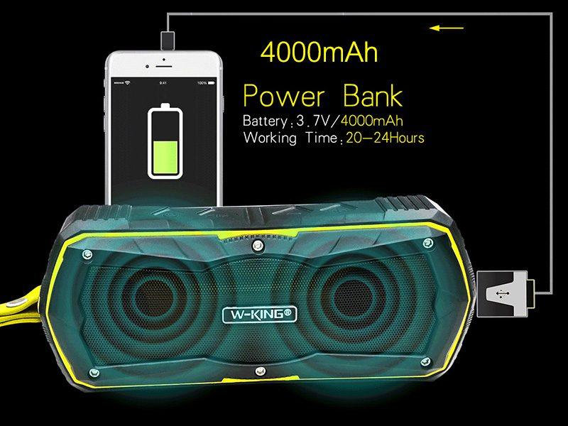 W-King S9 - Loa Bluetooth chống nước, kiêm pin sạc dự phòng 4000mAh 13