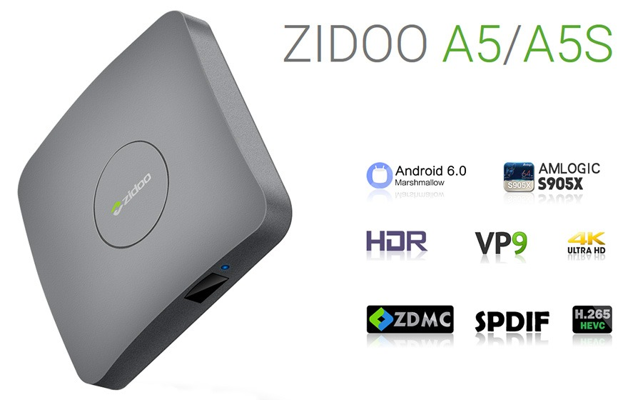 zidoo a5 va zidoo a5s chinh hang: android tv box amlogic s905x, chay android 6.0, ho tro 4k hdr