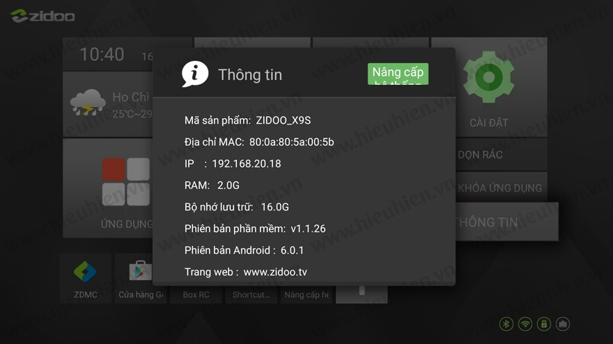 zidoo phat hanh firmware moi v1.1.26 cho android tv box zidoo x9s - thong tin he thong