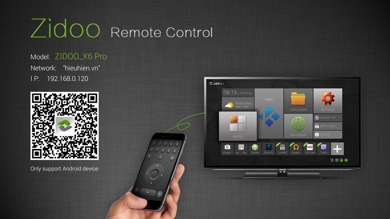ZIDOO rc app - dieu khien tv box ZIDOO x6 pro bang dien thoai android