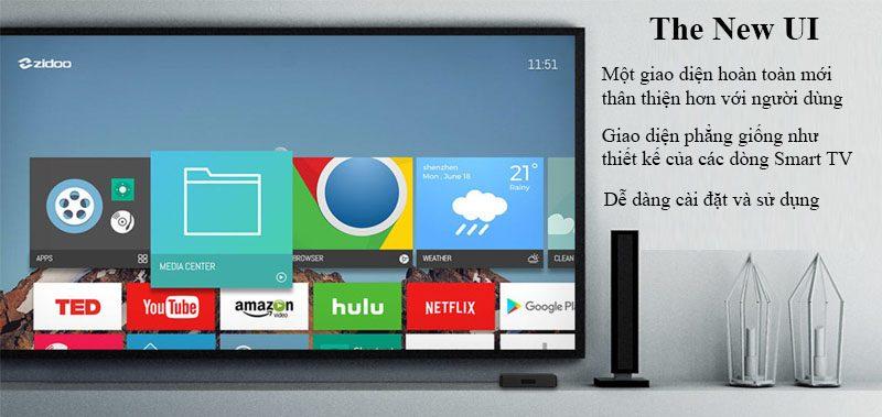 zidoo x7 chính hãng android tv box chip lõi tứ 64-bit rk3328, chạy android 7.1 - giao diện