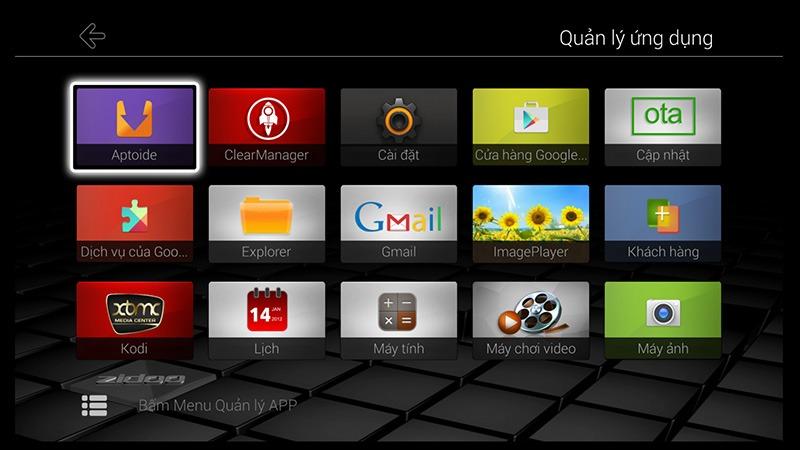 ZIDOO x9 android tv box: xem tat ca ung dung trong may tai muc quan ly ung dung