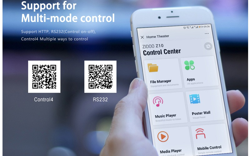 zidoo z10 media player 4k smart tv box android 7.1 nas system 2gb/16gb - điều kiển bằng điện thoại