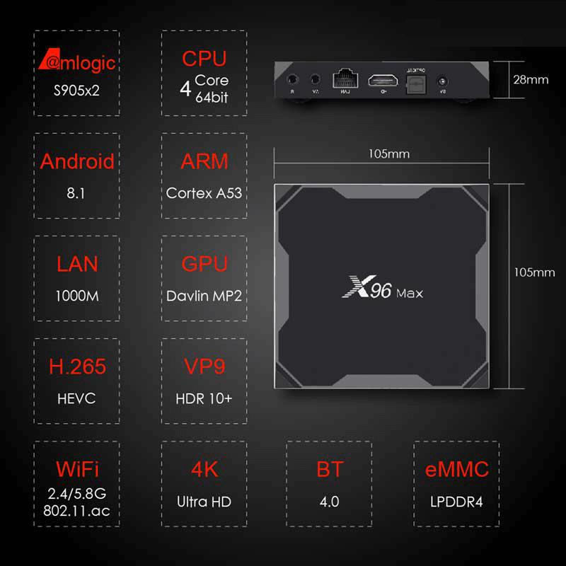 enybox x96 max 4gb/32gb android 8.1 tv box amlogic s905x2- hình 11