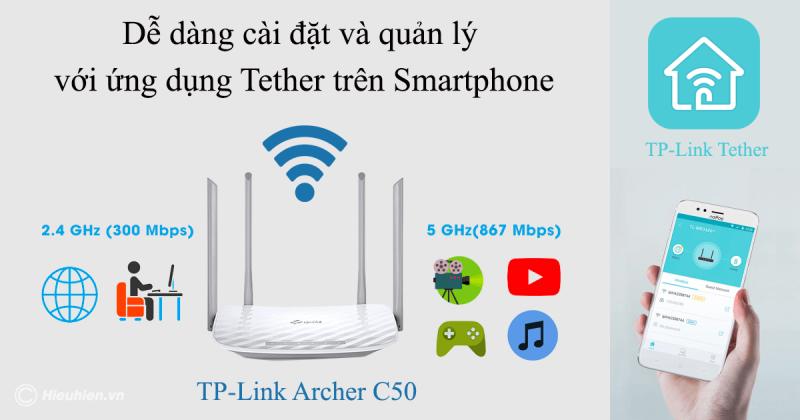 cách cấu hình bộ phát wifi tp-link archer c50 bằng ứng dụng tether