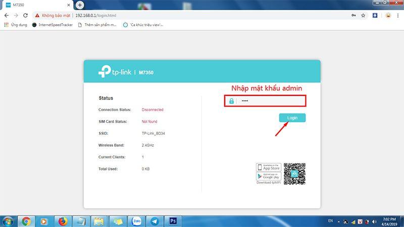 hướng dẫn cấu hình tp-link m7350 - bộ phát wifi 4g di động qua trình duyệt web - hình 02