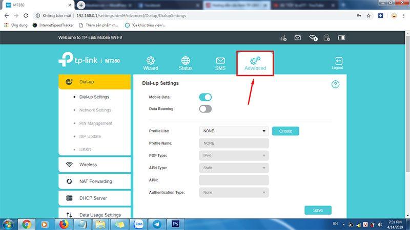hướng dẫn cấu hình tp-link m7350 - bộ phát wifi 4g di động qua trình duyệt web - hình 04