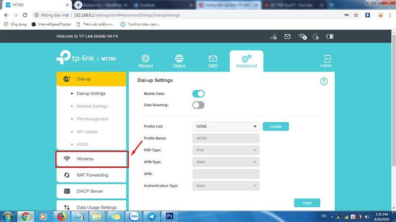 hướng dẫn cấu hình tp-link m7350 - bộ phát wifi 4g di động qua trình duyệt web - hình 05
