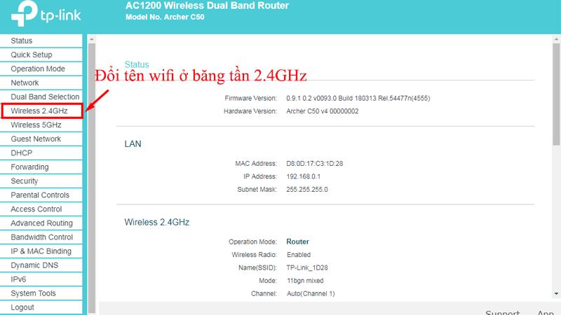 hướng dẫn cài đặt tp-link archer C50 để phát wifi trên cả 2 băng tần - hình 07