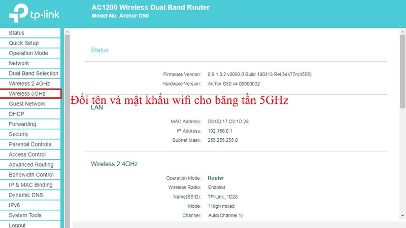 hướng dẫn cài đặt tp-link archer C50 để phát wifi trên cả 2 băng tần - 5ghz