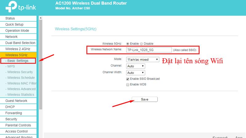 hướng dẫn cài đặt tp-link archer C50 để phát wifi trên cả 2 băng tần - 5ghz đặt tên