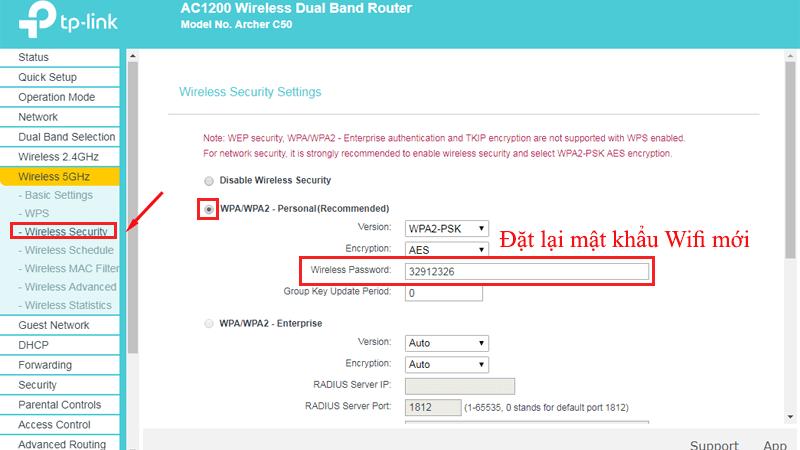 hướng dẫn cài đặt tp-link archer C50 để phát wifi trên cả 2 băng tần - 5ghz mật khẩu