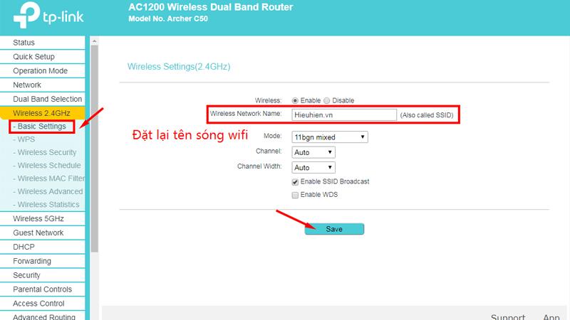 hướng dẫn cài đặt tp-link archer C50 để phát wifi trên cả 2 băng tần - dat ten 2.4ghz