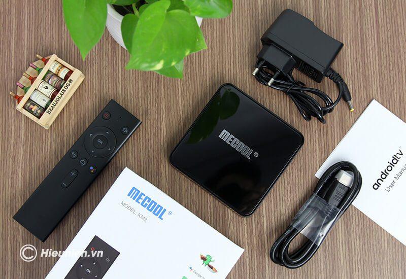 mecool km3 chạy hệ điều hành android tv 9 cùng cấu hình cao ram 4gb rom 64gb - bộ sản phẩm