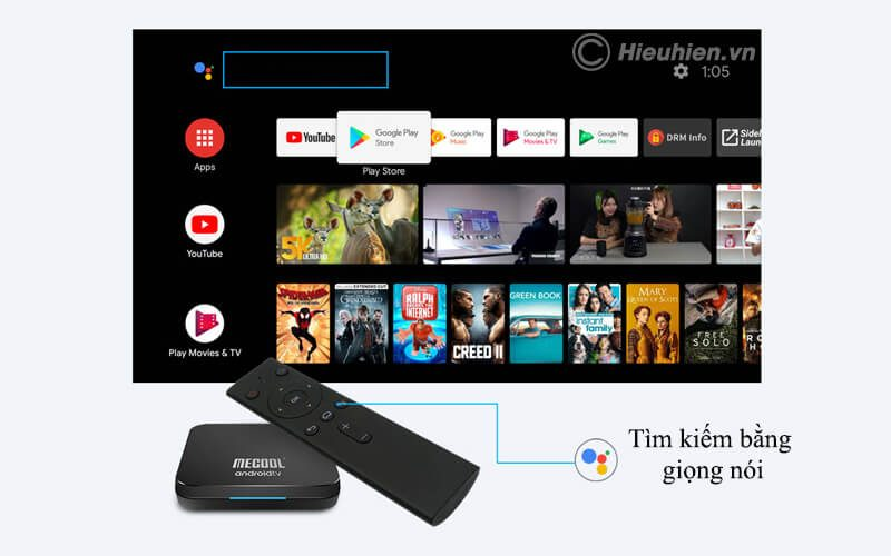 mecool km9 pro android tv 9.0 chip s905x2 4gb/32gb, có voice remote - hình 08