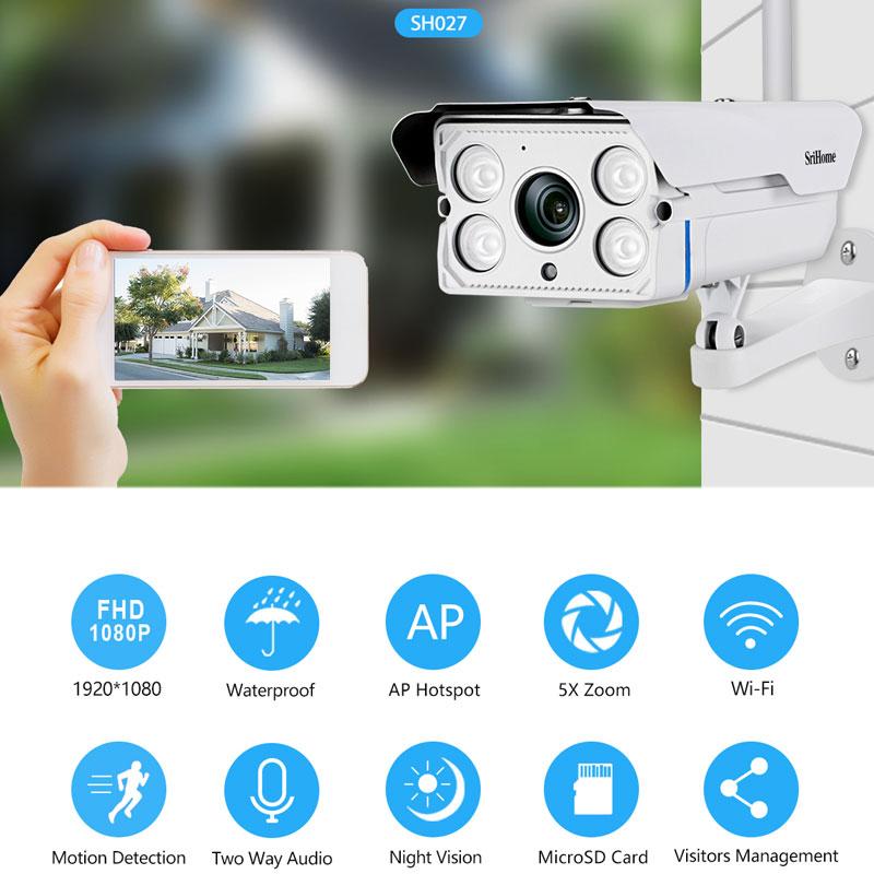 srihome sh027 - camera ip wifi ngoài trời, hỗ trợ thẻ nhớ 128gb - hình 03