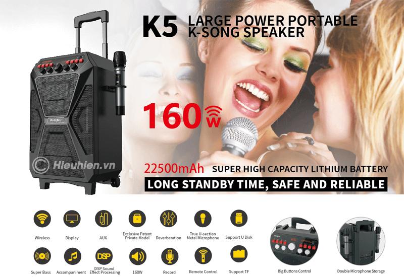 loa karaoke w-king k5 công suất 160w, tặng kèm 2 micro không dây - hình 07