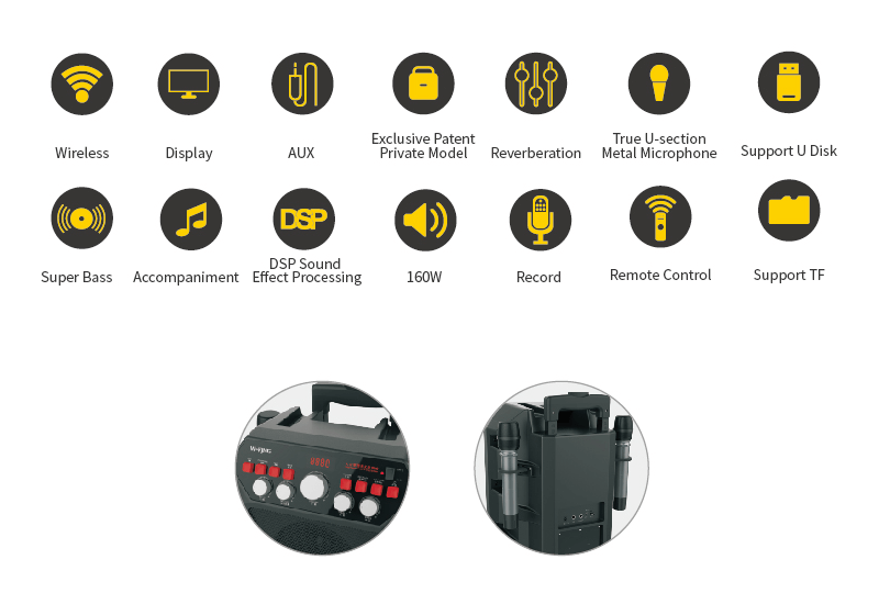 loa karaoke w-king k5 công suất 160w, tặng kèm 2 micro không dây - hình 10