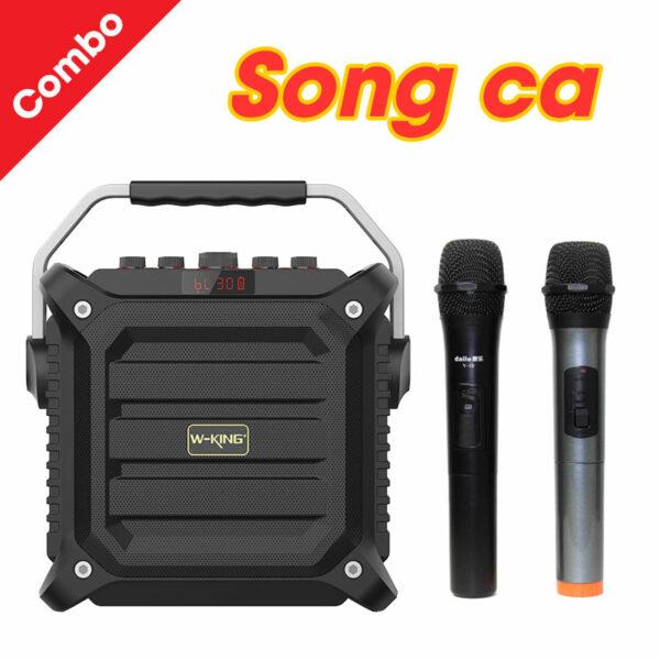 combo loa karaoke xách tay w-king k3h + micro zangsong v10 tu