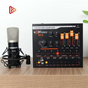 combo micro takstar pc-k500 + sound card v11 - thu âm hát livestream - hình 01