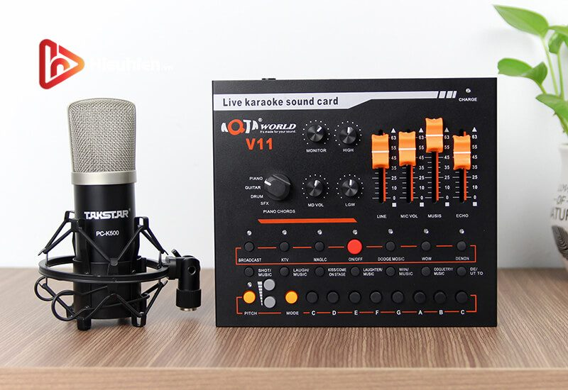 combo micro takstar pc-k500 + sound card v11 - thu âm hát livestream - hình 04