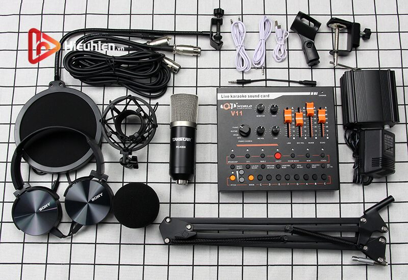 combo micro takstar pc-k500 + sound card v11 - thu âm hát livestream - hình 05
