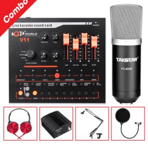 combo micro takstar pc-k500 + sound card v11 - thu âm hát livestream