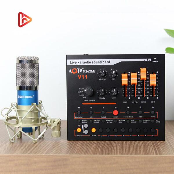 combo micro thu âm woaichang bm900 + sound card v11 hát livestream - hình 01