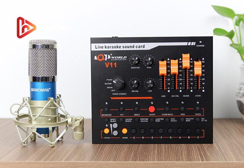 combo micro thu âm woaichang bm900 + sound card v11 hát livestream - hình 03