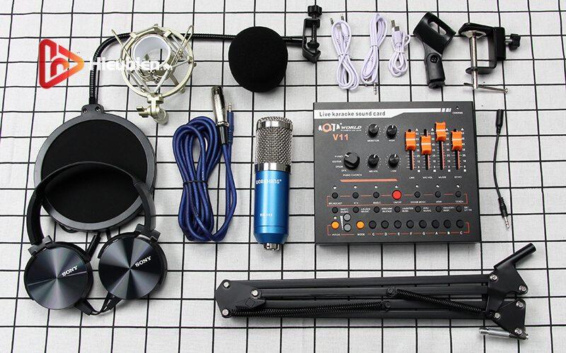 combo micro thu âm woaichang bm900 + sound card v11 hát livestream - hình 04