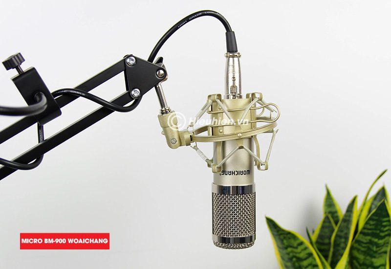 combo micro thu âm woaichang bm900 + sound card v11 hát livestream - hình 07