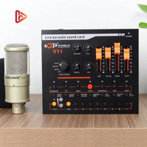 combo micro woaichang k200 + sound card v11 - thu âm, hát livestream - hình 01