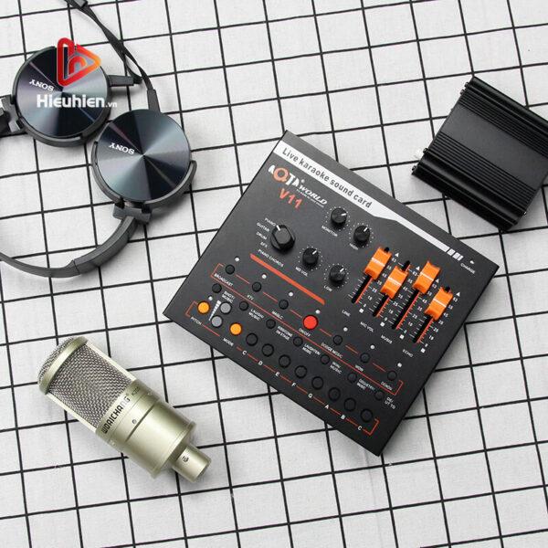 combo micro woaichang k200 + sound card v11 - thu âm, hát livestream - hình 02