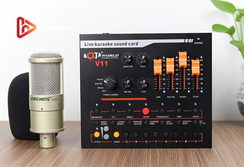 combo micro woaichang k200 + sound card v11 - thu âm, hát livestream - hình 03