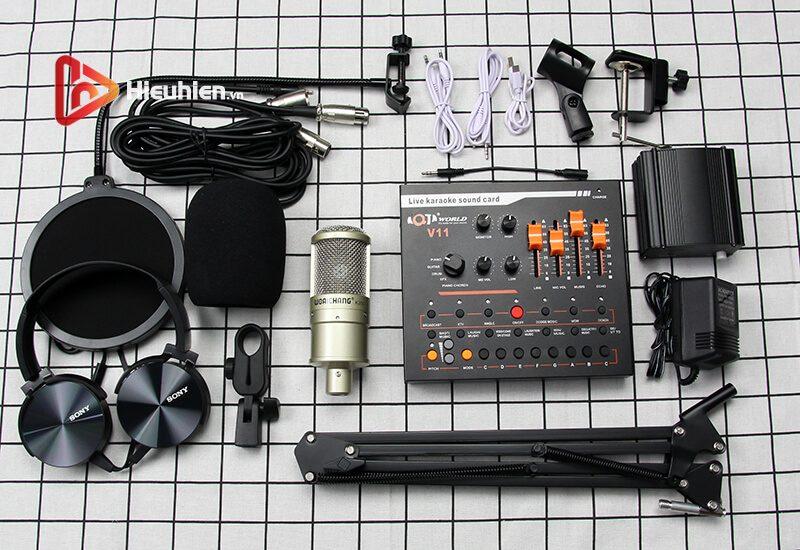 combo micro woaichang k200 + sound card v11 - thu âm, hát livestream - hình 04