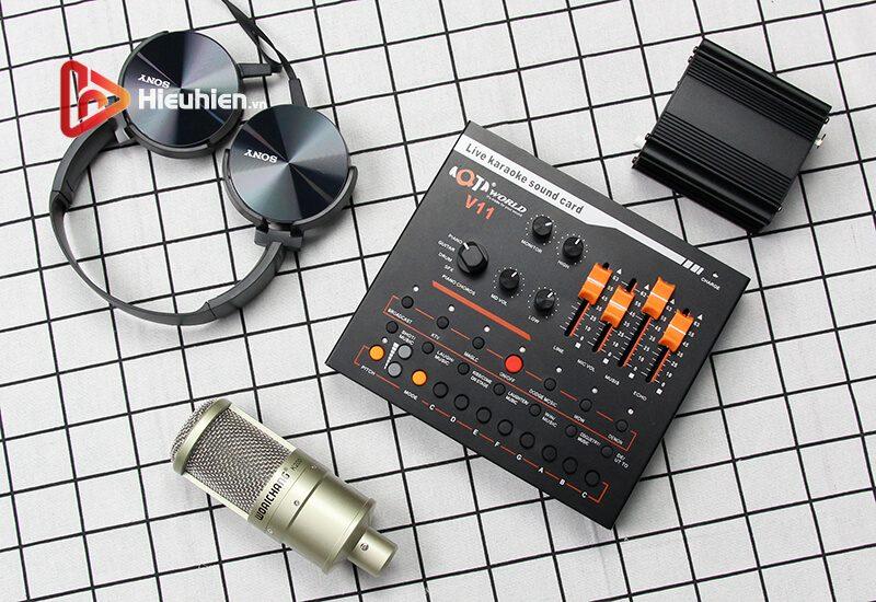 combo micro woaichang k200 + sound card v11 - thu âm, hát livestream - hình 07