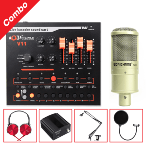 combo micro woaichang k200 + sound card v11 - thu âm, hát livestream