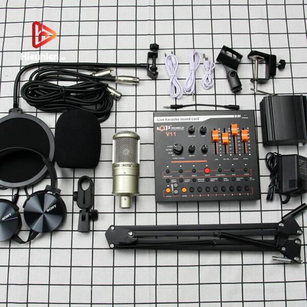 combo micro woaichang k200 + sound card v11 - thu âm, hát livestream - hình 11